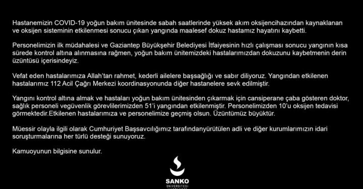 SANKO ÜNİVERSİTESİ HASTANESİ'NDEN KAMUOYUNA AÇIKLAMA